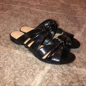 Alexandre Birman Black Python Sue Flat Sandals| 6